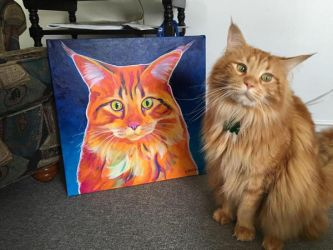 Cosmo And His Portrait by dawgart