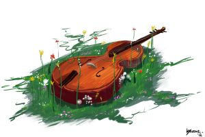 Cello, Weeds, And Flowers. by kuoke
