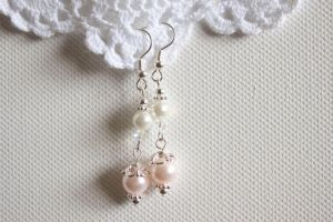 Cute Pink White Earrings by YourSweetTreat