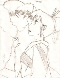 Glare Sesshomaru and Kagura by WhiteDeathLily