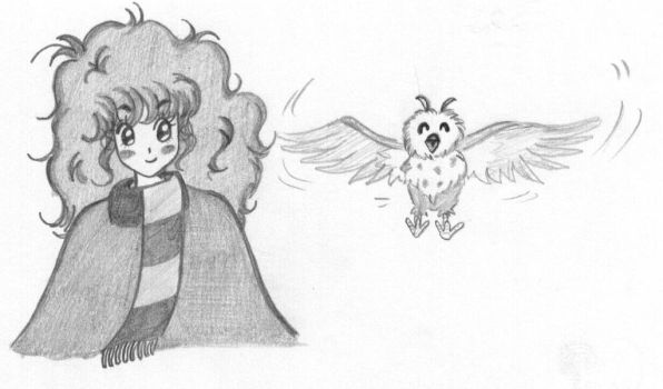 Hermione and Pigwidgeon by Piticaillou