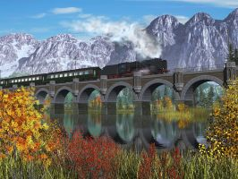 Train and Bridge and Mountains by xmas-kitty