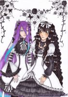Sisters in Monotone-AT with blacknpinktutu by lacrimosalis