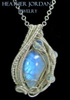 Rainbow Moonstone and Sterling Silver Wire-Wrapped by HeatherJordanJewelry