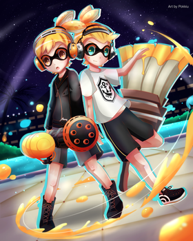 (COMMISSION) Splatoon- Mar and Grey by Pokkiu
