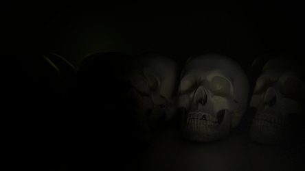 3D Wallpaper  concept for skull by Chumpen