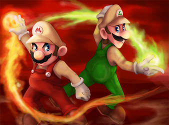 Fire Mario and Luigi by Yuese