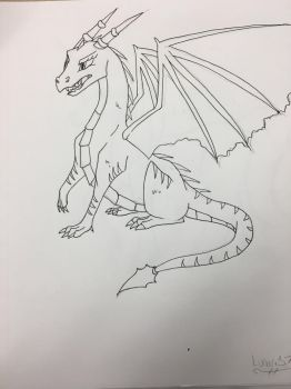 Line art dragon by Lunari37