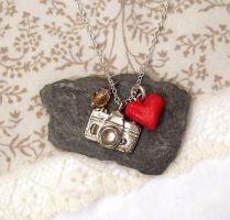 Camera necklace with heart by yael360