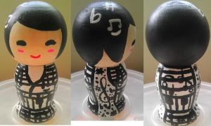 Japanese Kokeshi Music Doll by Froggy-Spaztastic