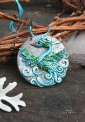 Blue Phoenix Medallion by Gloriosa-Art