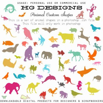 Animal Custom Shapes by HGGraphicDesigns