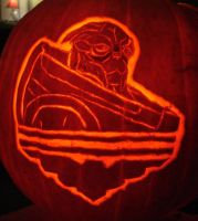 Mass Effect Garrus and His Eagle Pumpkin by RebelATS