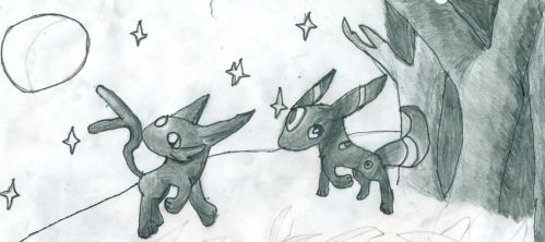Espeon and Umbreon by LilyArcondas