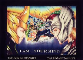I AM...YOUR KING ~ Loki and Thor by MakaCheshire