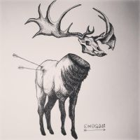 davelicini elk tattoo by Daveliciniart