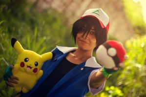 Sunset in the tall grass [Ash Ketchum Cosplay] by SakuraPamyu