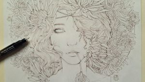 Fresh Cut Chrysanthemum wip 2 by MelissARTworks