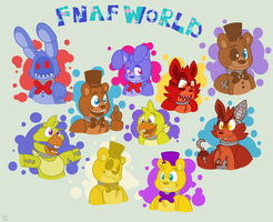 FNAF World Gang (Golden Freddy and Fredbear added) by HTF-ADTI-MLP100606