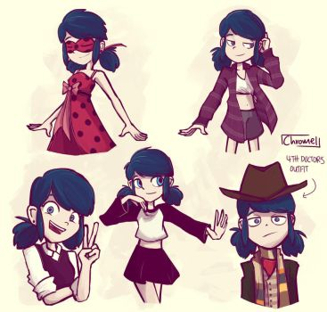 Marinette in different outfits by Chromel