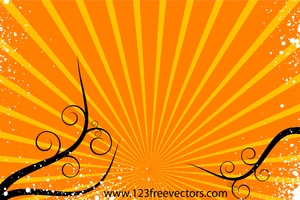 Sunburst Background Vector with Floral by 123freevectors