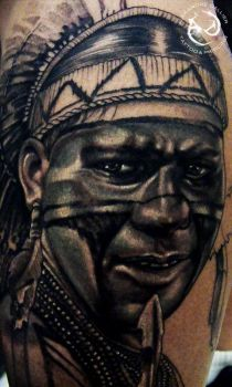 native american close up by DallierTattoo