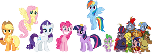 The Mane 6, Spike and the Gummi Bears by iamnater1225