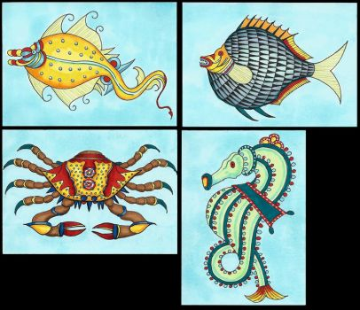 ATC - Sea critters by Tamara-Hawk