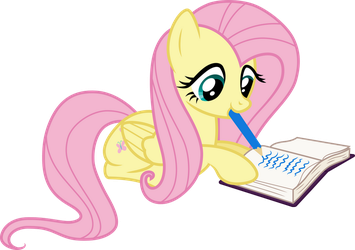 Fluttershy writing by CloudyGlow