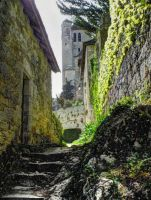 St Cirq Lapopie 17 - Mossy stairs medieval church by HermitCrabStock