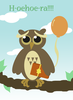 Owl Birthday Card by EnihpledAmira