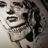 Morphed Skull Drawing by CassandraWilson