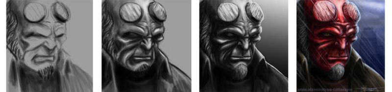 hellboy step by step by AtomiccircuS