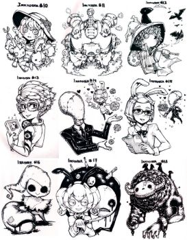 Inktober compilation 10~18 by Parororo