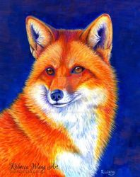 Colorful Red Fox Portrait by rebeccawangart
