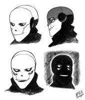 Sketches of Cyberhorror Gaster by APEX-Knight