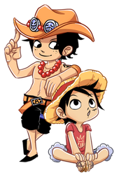 Ace and Luffy (Commission) by SnajeyArt