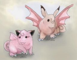 035 Clefairy and 036 Clefable by RtRadke