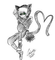 Miraculous ladybug Cat noir sketch by moondaneka
