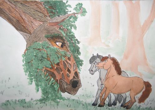 Merry and Pippin meet Treebeard (LOTR as horses) by Ari-the-Brave