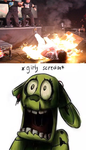 Springtrap Scared of Burning Abyss by EarWaxKid