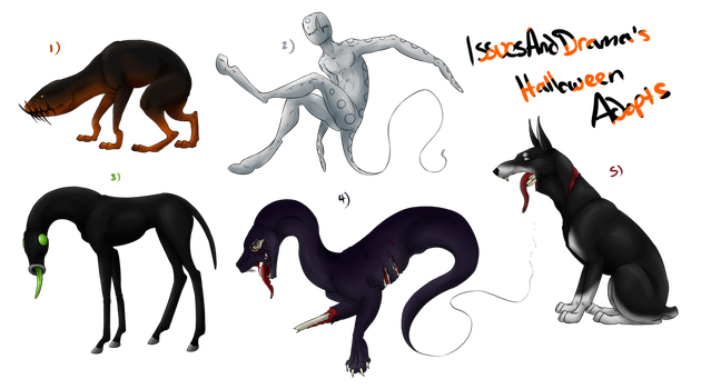 Halloween Adopts by IssuesandDramaAdopts