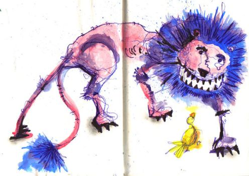 Lion and Duck by elpajo