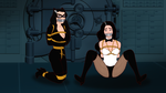 Catwoman and Zatanna in Troubles by VictorZulu