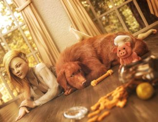 A Girl and Her Dog, Pin-Up Woman Art, DS Iray by shibashake