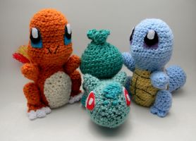 Kanto starters by gwilly-crochet