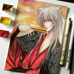 Tomoe- watercolor by Cane-the-artist