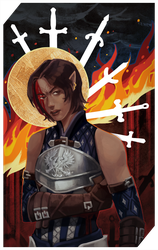Commission: Grey Warden tarot by RedlyJester