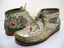 Recycled shoe art by thekillergerbil