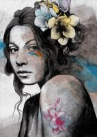 Qohelet (young lady with freesias tattoos) by KissMyArt-Artcore